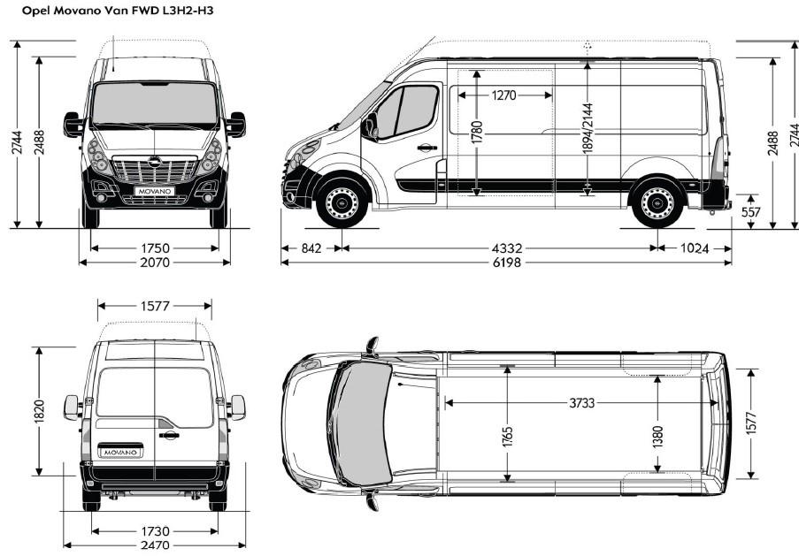 dimensiuni Opel Movano